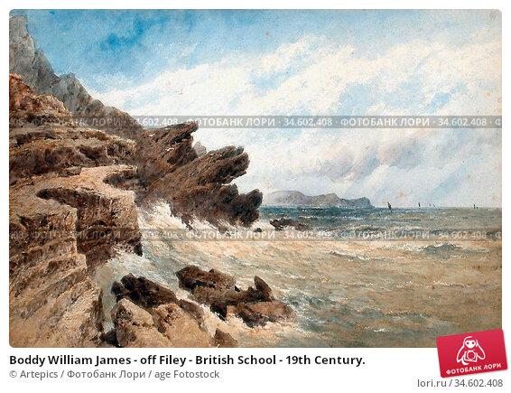 Boddy William James - off Filey - British School - 19th Century. Стоковое фото, фотограф Artepics / age Fotostock / Фотобанк Лори