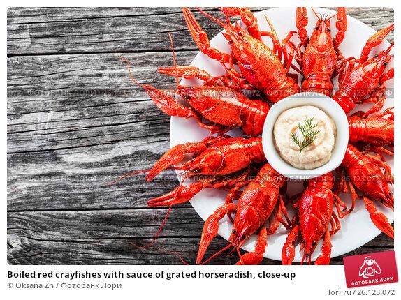 Купить «Boiled red crayfishes with sauce of grated horseradish, close-up», фото № 26123072, снято 19 октября 2015 г. (c) Oksana Zh / Фотобанк Лори