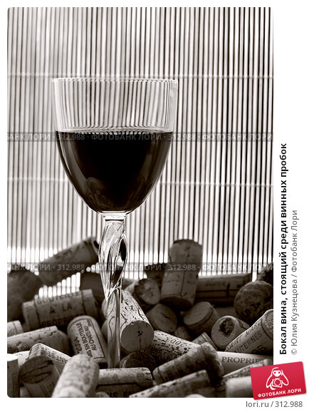 Бокал вина, стоящий среди винных пробок, фото № 312988, снято 3 июня 2008 г. (c) Юлия Кузнецова / Фотобанк Лори