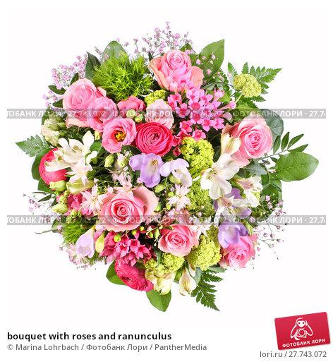 Купить «bouquet with roses and ranunculus», фото № 27743072, снято 15 апреля 2019 г. (c) PantherMedia / Фотобанк Лори