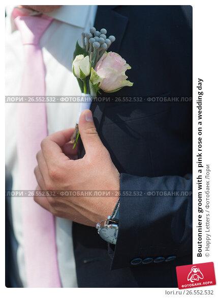 Boutonniere groom with a pink rose on a wedding day, фото № 26552532, снято 2 июля 2016 г. (c) Галина Тимонько / Фотобанк Лори