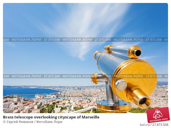 Купить «Brass telescope overlooking cityscape of Marseille», фото № 27873508, снято 18 июля 2017 г. (c) Сергей Новиков / Фотобанк Лори