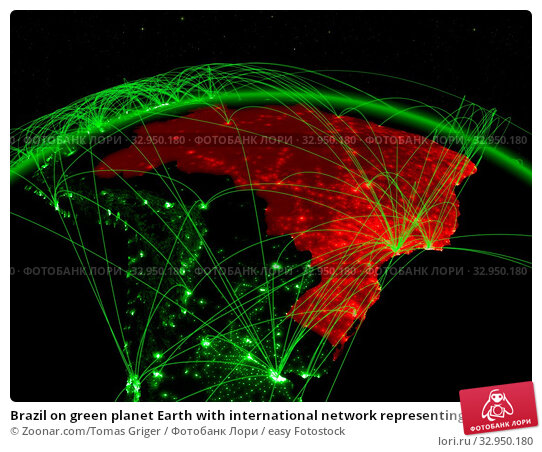 Brazil on green planet Earth with international network representing communication, travel and connections. 3D illustration. Elements of this image furnished by NASA. Стоковое фото, фотограф Zoonar.com/Tomas Griger / easy Fotostock / Фотобанк Лори