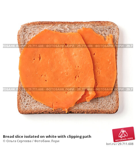 Купить «Bread slice isolated on white with clipping path», фото № 29711608, снято 19 ноября 2018 г. (c) Ольга Сергеева / Фотобанк Лори