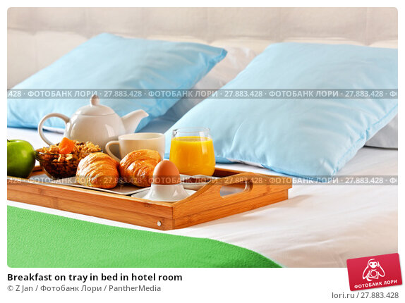 Купить «Breakfast on tray in bed in hotel room», фото № 27883428, снято 26 марта 2019 г. (c) PantherMedia / Фотобанк Лори