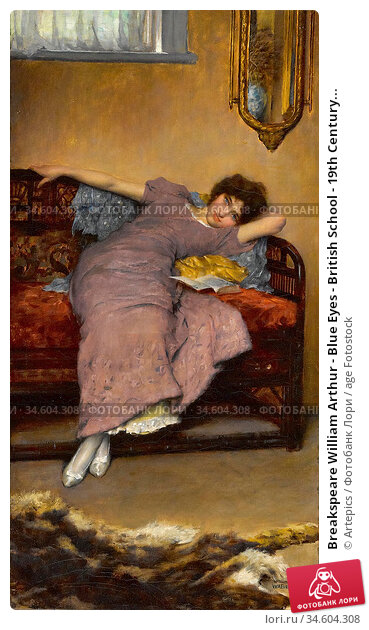 Breakspeare William Arthur - Blue Eyes - British School - 19th Century... Стоковое фото, фотограф Artepics / age Fotostock / Фотобанк Лори