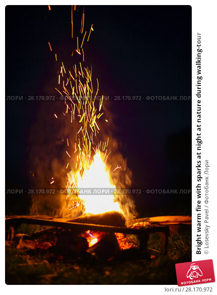 Купить «Bright warm fire with sparks at night at nature during walking-tour», фото № 28170972, снято 2 июля 2016 г. (c) Losevsky Pavel / Фотобанк Лори