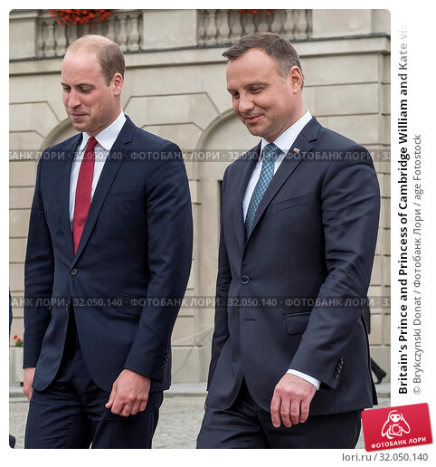 Britain's Prince and Princess of Cambridge William and Kate visit in Warsaw, Poland on July 17th, 2017. Pictured: Prince William, President Andrzej Duda. Редакционное фото, фотограф Brykczynski Donat / age Fotostock / Фотобанк Лори