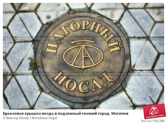 Бронзовая крышка входа в подземный гномий город. Могилев, фото № 163240, снято 22 февраля 2017 г. (c) Виктор Пелих / Фотобанк Лори