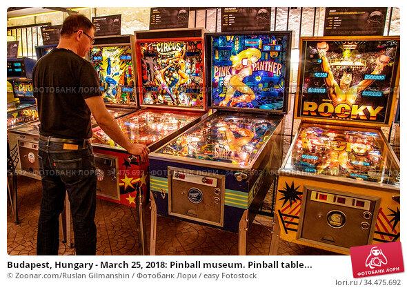 Budapest, Hungary - March 25, 2018: Pinball museum. Pinball table... Стоковое фото, фотограф Zoonar.com/Ruslan Gilmanshin / easy Fotostock / Фотобанк Лори