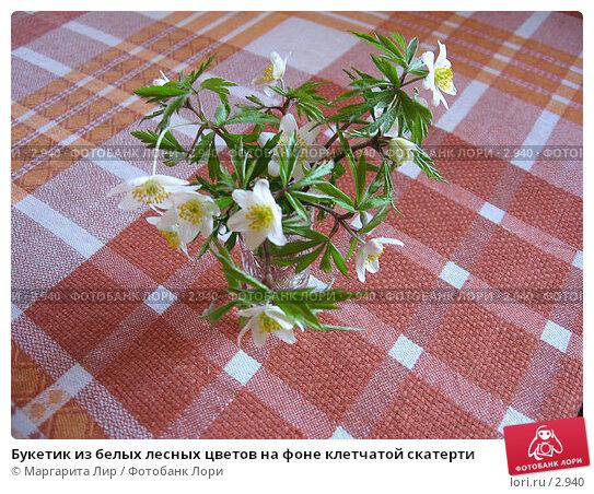 Букетик из белых лесных цветов на фоне клетчатой скатерти, фото № 2940, снято 1 мая 2006 г. (c) Маргарита Лир / Фотобанк Лори