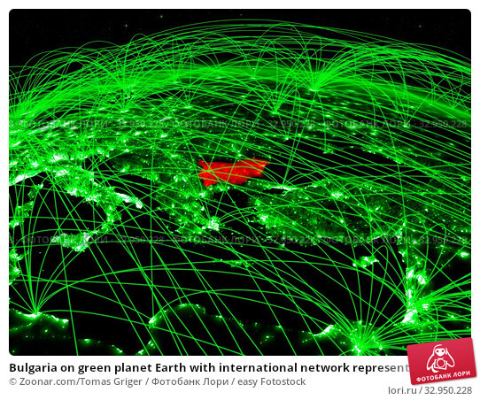Bulgaria on green planet Earth with international network representing communication, travel and connections. 3D illustration. Elements of this image furnished by NASA. Стоковое фото, фотограф Zoonar.com/Tomas Griger / easy Fotostock / Фотобанк Лори