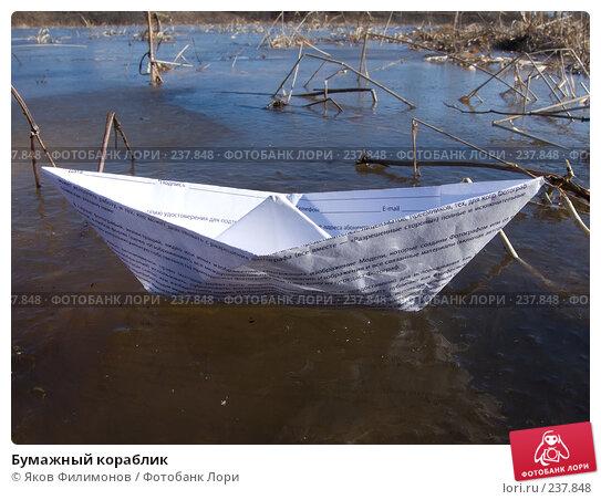 Купить «Бумажный кораблик», фото № 237848, снято 19 апреля 2018 г. (c) Яков Филимонов / Фотобанк Лори