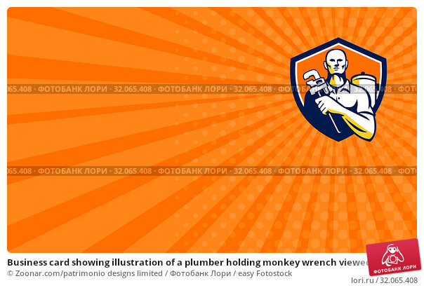 Business card showing illustration of a plumber holding monkey wrench viewed from front set inside shield crest on isolated background done in retro style. Стоковое фото, фотограф Zoonar.com/patrimonio designs limited / easy Fotostock / Фотобанк Лори