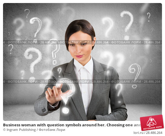 Купить «Business woman with question symbols around her. Choosing one and pressing on it», фото № 28486264, снято 3 августа 2019 г. (c) Ingram Publishing / Фотобанк Лори