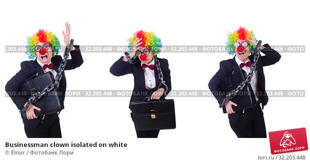 Купить «Businessman clown isolated on white», фото № 32203448, снято 8 мая 2013 г. (c) Elnur / Фотобанк Лори
