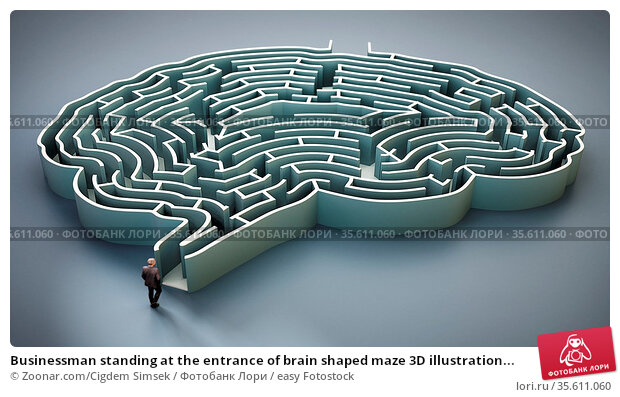 Businessman standing at the entrance of brain shaped maze 3D illustration... Стоковое фото, фотограф Zoonar.com/Cigdem Simsek / easy Fotostock / Фотобанк Лори