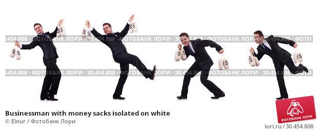 Businessman with money sacks isolated on white. Стоковое фото, фотограф Elnur / Фотобанк Лори