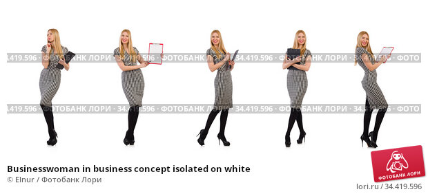 Businesswoman in business concept isolated on white. Стоковое фото, фотограф Elnur / Фотобанк Лори