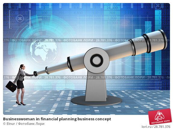 Купить «Businesswoman in financial planning business concept», фото № 28781376, снято 20 марта 2019 г. (c) Elnur / Фотобанк Лори