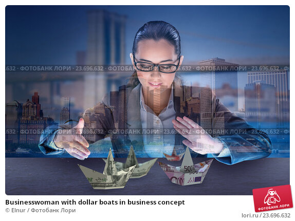 Купить «Businesswoman with dollar boats in business concept», фото № 23696632, снято 17 августа 2016 г. (c) Elnur / Фотобанк Лори