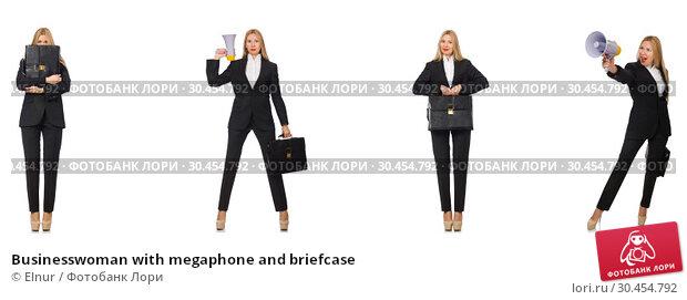 Businesswoman with megaphone and briefcase. Стоковое фото, фотограф Elnur / Фотобанк Лори