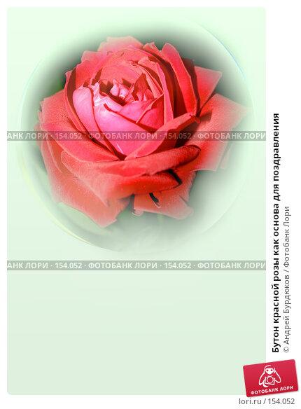 Купить «Бутон красной розы как основа для поздравления», фото № 154052, снято 8 сентября 2006 г. (c) Андрей Бурдюков / Фотобанк Лори