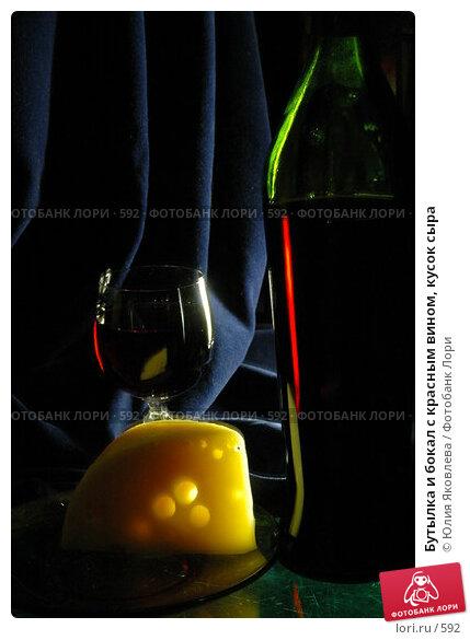 Бутылка и бокал с красным вином, кусок сыра, фото № 592, снято 12 февраля 2005 г. (c) Юлия Яковлева / Фотобанк Лори
