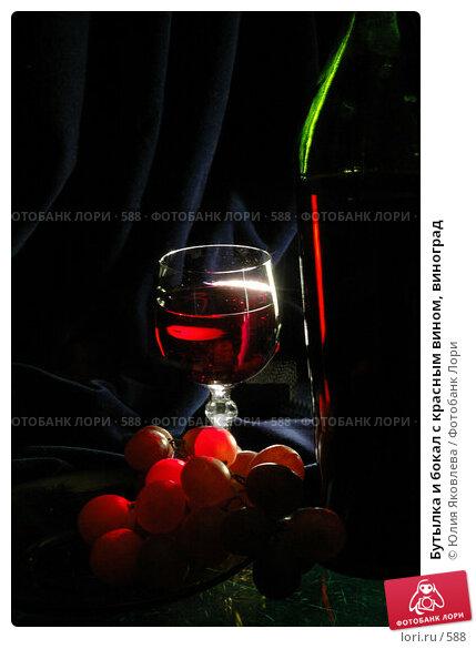 Купить «Бутылка и бокал с красным вином, виноград», фото № 588, снято 12 февраля 2005 г. (c) Юлия Яковлева / Фотобанк Лори