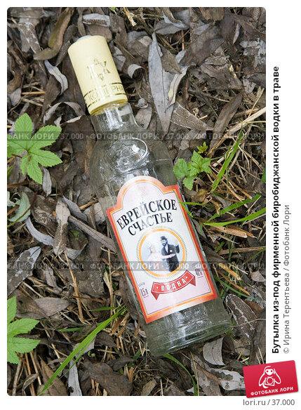 Бутылка из-под фирменной биробиджанской водки в траве, эксклюзивное фото № 37000, снято 22 сентября 2005 г. (c) Ирина Терентьева / Фотобанк Лори