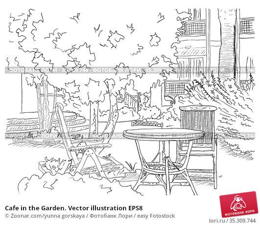 Cafe in the Garden. Vector illustration EPS8. Стоковое фото, фотограф Zoonar.com/yunna gorskaya / easy Fotostock / Фотобанк Лори