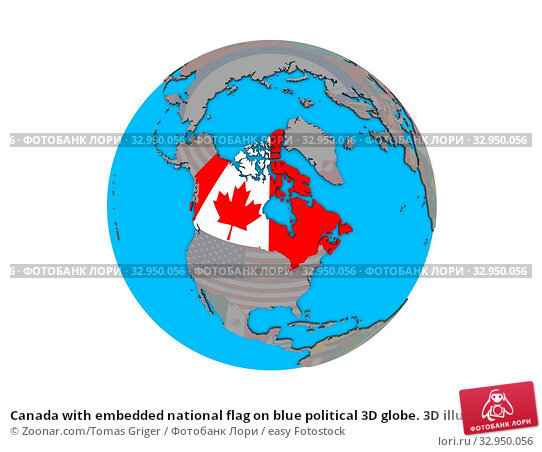 Canada with embedded national flag on blue political 3D globe. 3D illustration isolated on white background. Стоковое фото, фотограф Zoonar.com/Tomas Griger / easy Fotostock / Фотобанк Лори