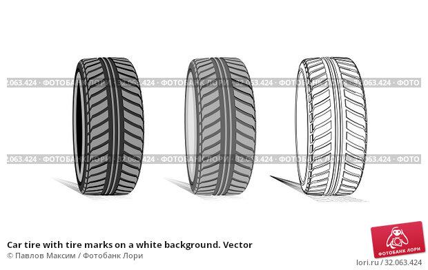 Car tire with tire marks on a white background. Vector. Стоковая иллюстрация, иллюстратор Павлов Максим / Фотобанк Лори