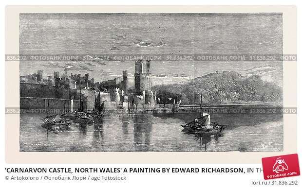 Купить «'CARNARVON CASTLE, NORTH WALES' A PAINTING BY EDWARD RICHARDSON, IN THE EXHIBITION OF THE NEW SOCIETY OF PAINTERS IN WATER COLOURS, PURCHASED BY HER MAJESTY.», фото № 31836292, снято 3 января 2013 г. (c) age Fotostock / Фотобанк Лори