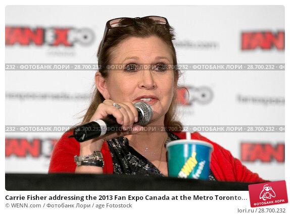 Купить «Carrie Fisher addressing the 2013 Fan Expo Canada at the Metro Toronto Convention Centre in Toronto, Canada. Featuring: Carrie Fisher Where: Toronto, Ontario, Canada When: 25 Aug 2013 Credit: WENN.com», фото № 28700232, снято 25 августа 2013 г. (c) age Fotostock / Фотобанк Лори