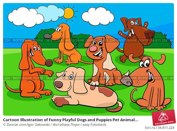 Cartoon Illustration of Funny Playful Dogs and Puppies Pet Animal... Стоковое фото, фотограф Zoonar.com/Igor Zakowski / easy Fotostock / Фотобанк Лори
