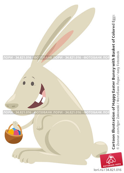 Cartoon Illustration of Happy Easter Bunny with Basket of Colored Eggs. Стоковое фото, фотограф Zoonar.com/Igor Zakowski / easy Fotostock / Фотобанк Лори
