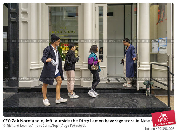 Купить «CEO Zak Normandin, left, outside the Dirty Lemon beverage store in New York on Friday, September 14, 2018. The store called 'The Drug Store' in the Tribeca...», фото № 29398096, снято 14 сентября 2018 г. (c) age Fotostock / Фотобанк Лори