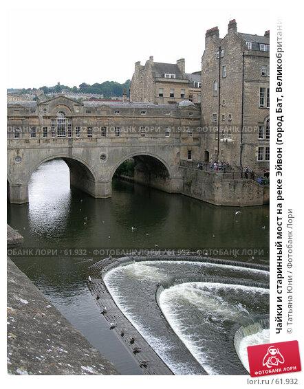 Чайки и старинный мост на реке Эйвон (город Бат, Великобритания), эксклюзивное фото № 61932, снято 14 августа 2006 г. (c) Татьяна Юни / Фотобанк Лори