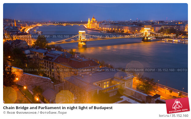 Chain Bridge and Parliament in night light of Budapest. Стоковое фото, фотограф Яков Филимонов / Фотобанк Лори