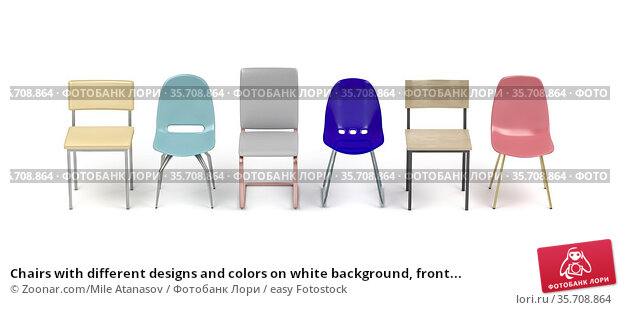 Chairs with different designs and colors on white background, front... Стоковое фото, фотограф Zoonar.com/Mile Atanasov / easy Fotostock / Фотобанк Лори