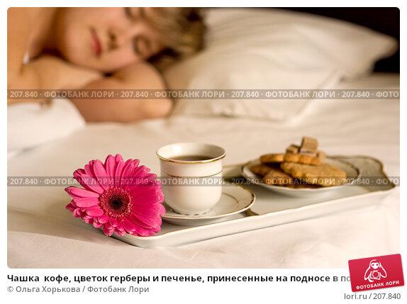 Чашка  кофе, цветок герберы и печенье, принесенные на подносе в постель, фото № 207840, снято 21 августа 2017 г. (c) Ольга Хорькова / Фотобанк Лори