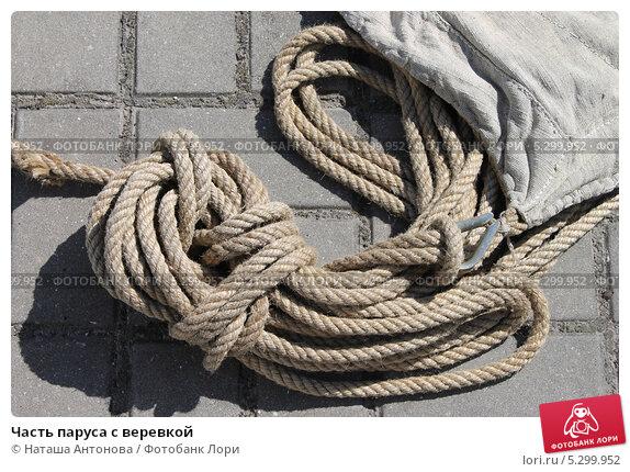 Купить «Часть паруса с веревкой», эксклюзивное фото № 5299952, снято 1 августа 2013 г. (c) Ната Антонова / Фотобанк Лори
