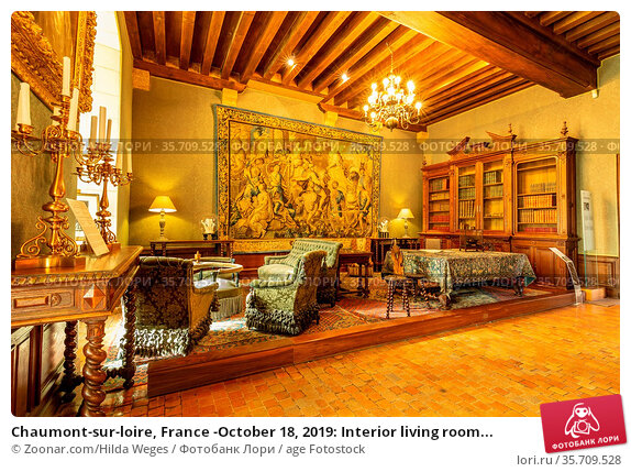Chaumont-sur-loire, France -October 18, 2019: Interior living room... Стоковое фото, фотограф Zoonar.com/Hilda Weges / age Fotostock / Фотобанк Лори