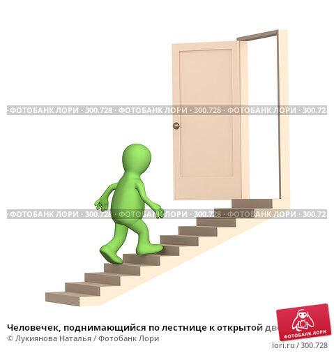 Человечек, поднимающийся по лестнице к открытой двери, иллюстрация № 300728 (c) Лукиянова Наталья / Фотобанк Лори