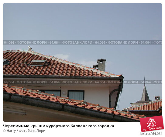Купить «Черепичные крыши курортного балканского городка», фото № 64064, снято 2 мая 2004 г. (c) Harry / Фотобанк Лори