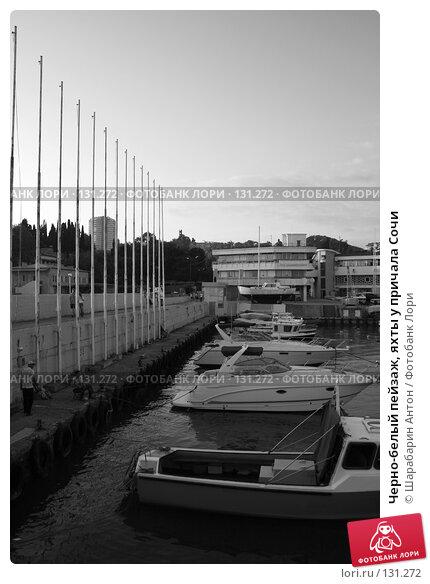 Купить «Черно-белый пейзаж, яхты у причала Сочи», фото № 131272, снято 2 июня 2007 г. (c) Шарабарин Антон / Фотобанк Лори