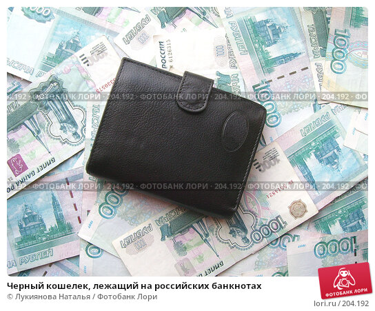 Черный кошелек, лежащий на российских банкнотах, фото № 204192, снято 17 февраля 2008 г. (c) Лукиянова Наталья / Фотобанк Лори