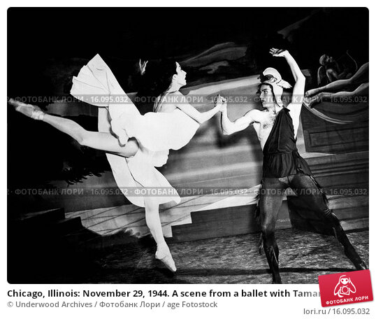 Купить «Chicago, Illinois: November 29, 1944. A scene from a ballet with Tamara Toumanova and Richard Reed of the Russian Ballet while appearing in Chicago.», фото № 16095032, снято 4 апреля 2020 г. (c) age Fotostock / Фотобанк Лори