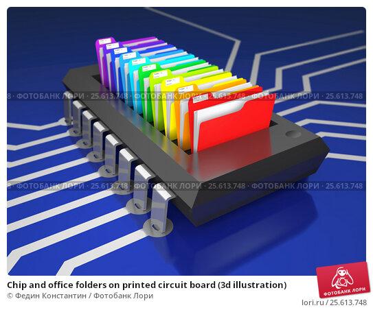 Chip and office folders on printed circuit board (3d illustration) Стоковая иллюстрация, иллюстратор Федин Константин / Фотобанк Лори